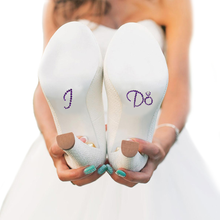 I Do Shoe Stickers for Bridal Shoes - Purple and Clear Ring
