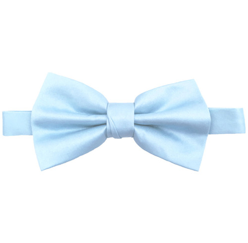Light Blue Luxury Matte Satin Bow Tie with Adjustable Clasp