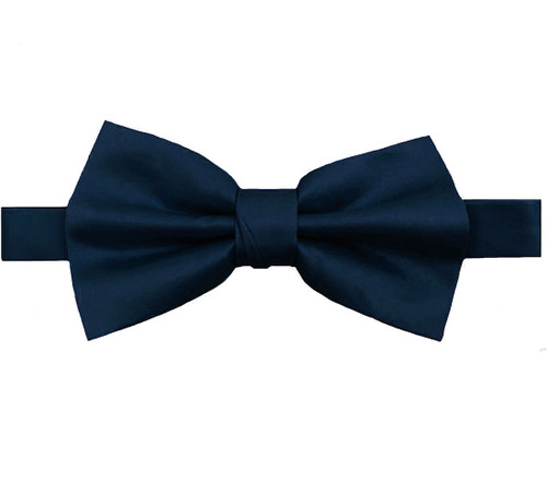 Navy Luxury Matte Satin Bow Tie with Adjustable Clasp