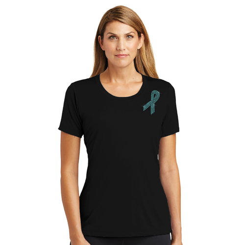 Ovarian Cancer Awareness Crew Neck T-Shirt with Teal Rhinestone Ribbon