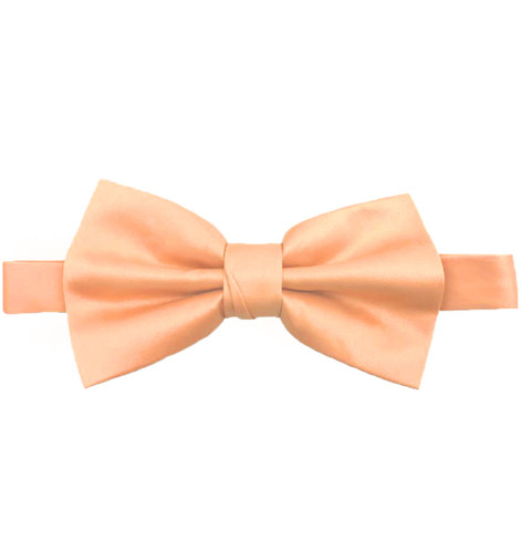 Peach Luxury Matte Satin Bow Tie with Adjustable Clasp