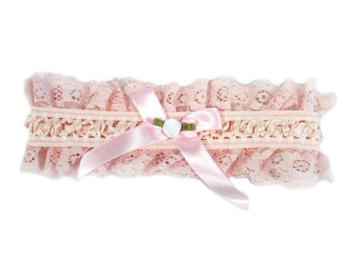 Soft Pink Lace and Satin Bridal Garter