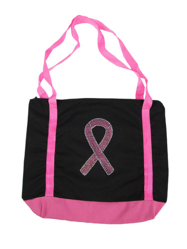 Pink Ribbon Canvas Tote Bag in Dazzling Crystals