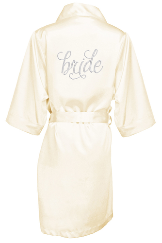 Pretty Script Bridal Party Robe with Clear Rhinestones