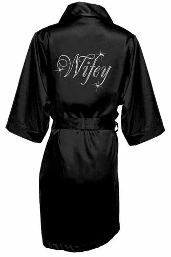 Wholesale Rhinestone Wifey Black Satin Robe