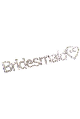Rhinestone Swirly Heart Bridesmaid Pin