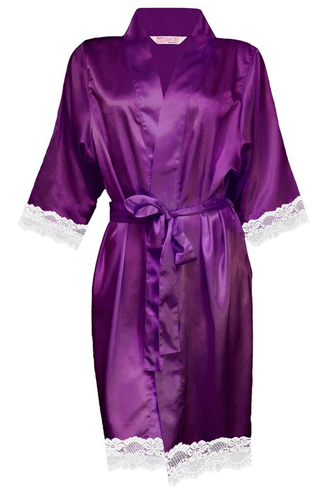 Blank Satin Robe with White Lace Trim