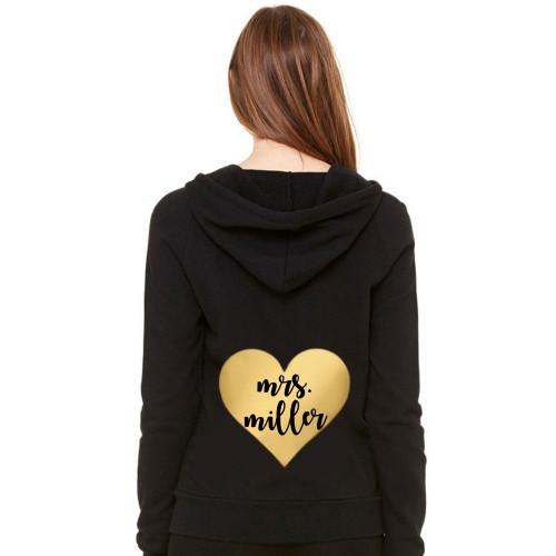 Personalized Metallic Heart Hoodie