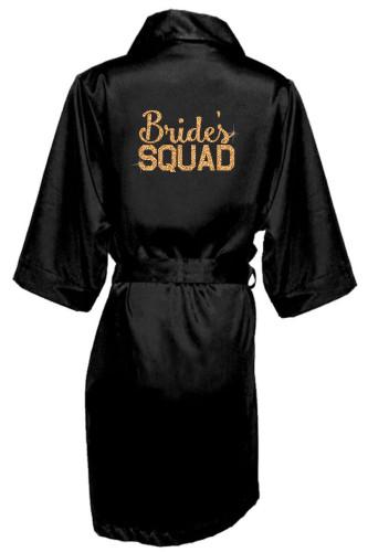 Bride and Bride's Squad Glitter Print Robes