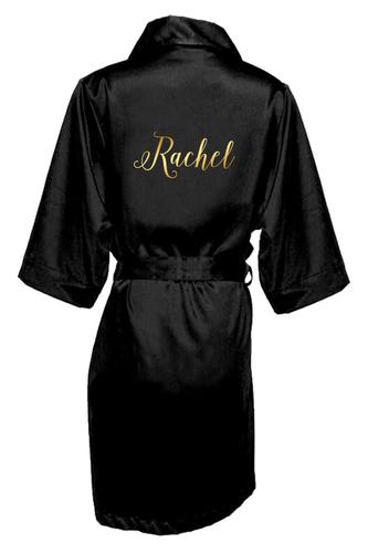 Personalized Satin Robe in Metallic Print
