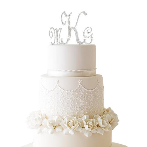 Monogram Cake Topper with Swarovski Crystals