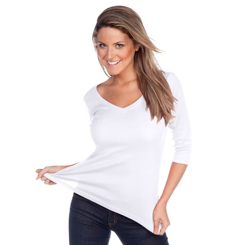 Custom Logo ¾ Length Sleeve V-Neck T-Shirt