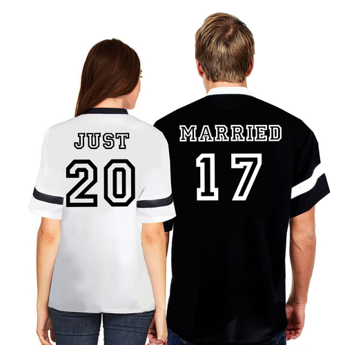 Couple Matching Just and Married Jersey