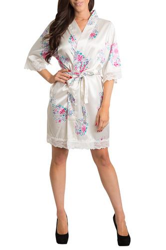 Plain Floral Lace Satin Robe