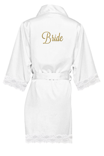 Embroidered Bridal Party Lace Satin Robes