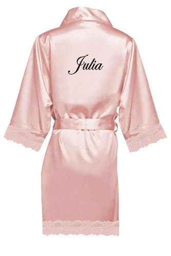 Personalized Embroidered Lace Satin Robes