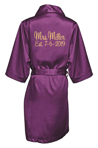 a31633b809e Personalized Embroidered Mrs. with Established Date Satin Robe