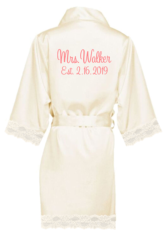 ea52a735a14 Personalized Embroidered Mrs. with Established Date Lace Satin Robes ...