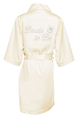 Rhinestone Bride to Be Satin Robe