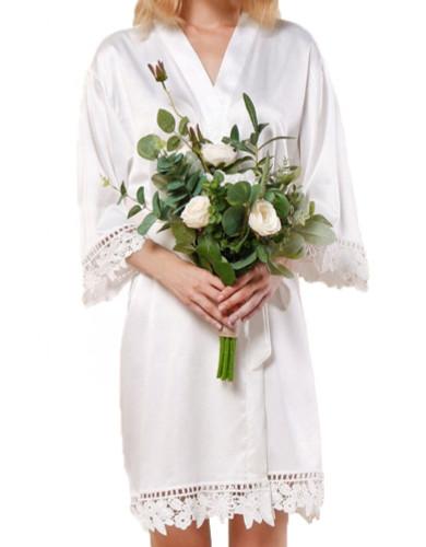White Satin Robe with White Lace Trim