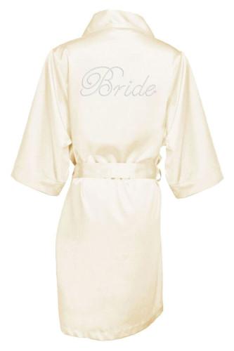 Ivory Rhinestone Bride Satin Robe