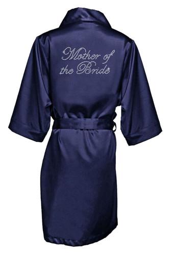 Navy Rhinestone Mother of the Bride Satin Robe