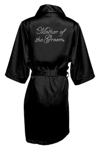 Black Rhinestone Mother of the Groom Satin Robe
