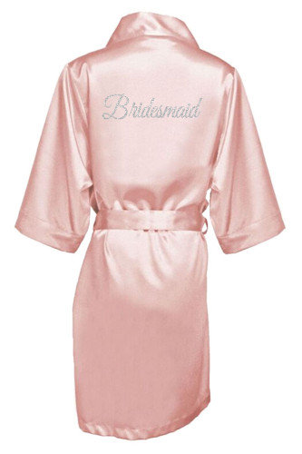 Blush Silver Glitter Print Bridesmaid Satin Robe