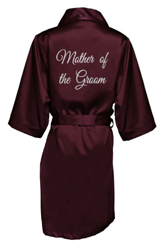 Wine Silver Glitter Print Mother of the Groom Satin Robe