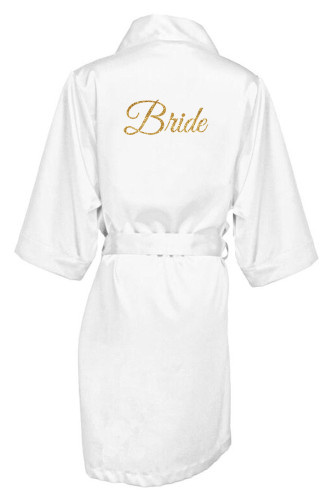 White Gold Glitter Print Bride Satin Robe