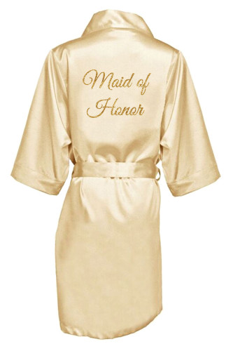 Champagne Gold Glitter Print Maid of Honor Satin Robe
