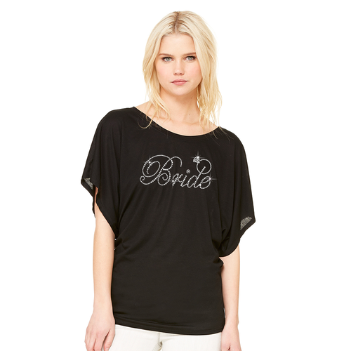 Bride Flowy Dolman Tee with Diamond Ring Accent