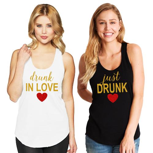 Drunk in Love & Just Drunk Racerback Tank Top