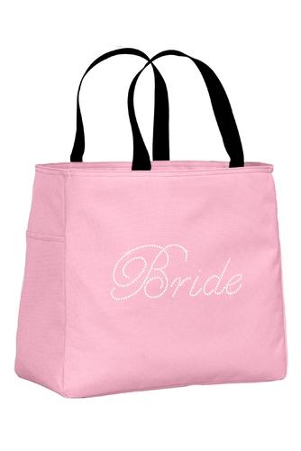Rhinestone Bridal Party Tote Bags in Edwardian Script Font