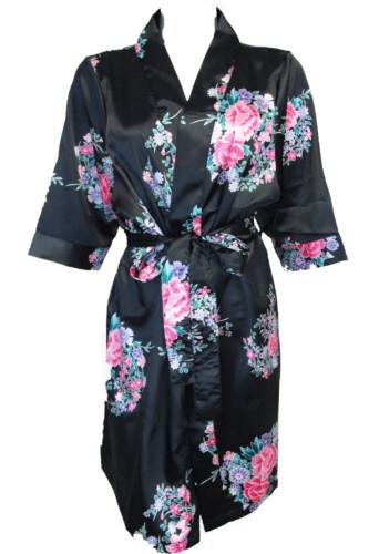 black floral satin robe