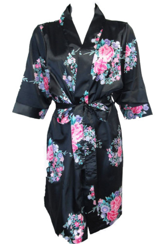 black floral satin robe