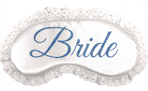 White Lace Sleep Mask with Glitter Bride Design