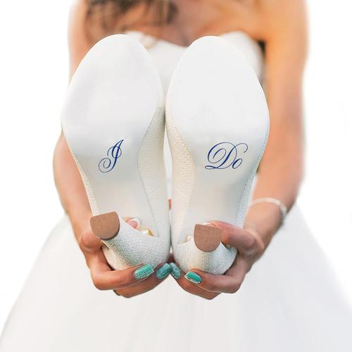 I Do Wedding Shoe Stickers in Blue Glitter