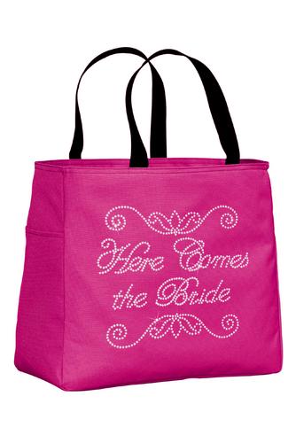 Here Comes the Bride Rhinestone Tote Bag