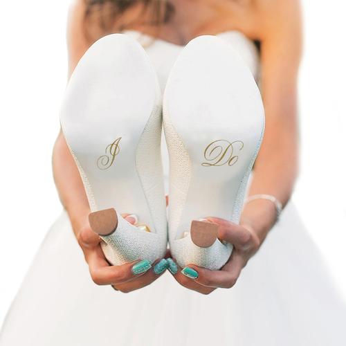 I Do Wedding Shoe Stickers in Gold Glitter