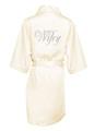 Wholesale Rhinestone Wifey Off White Satin Robe