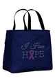 Navy Tote Bag with Pink Ribbon