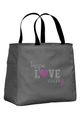 Charcoal Tote Bag with Pink Accent Color
