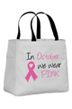 In October We Wear Pink Canvas Tote Bag
