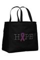 Black Tote Bag with Pink Ribbon
