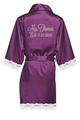 Personalized Embroidered Mrs. with Established Date Lace Satin Robes