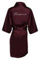 Wine Rhinestone Bridesmaid Satin Robe