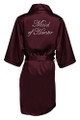 Wine Rhinestone Maid of Honor Satin Robe