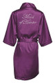 Eggplant Rhinestone Maid of Honor Satin Robe