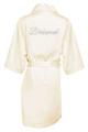 Ivory Silver Glitter Print Bridesmaid Satin Robe